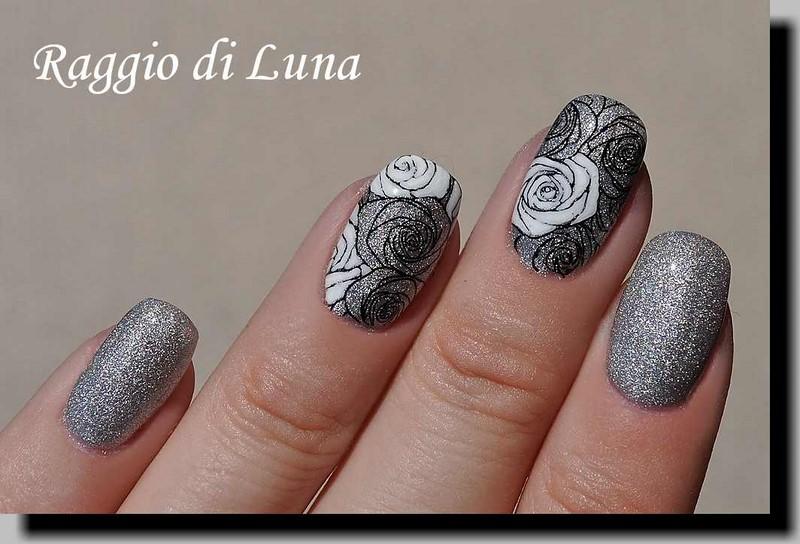 Raggio di Luna Nails: UV gel manicure with stamping - Black roses ...