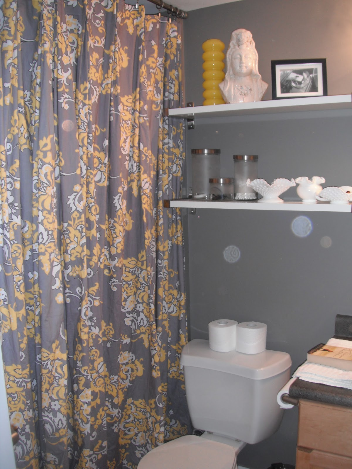 online interior design yellow grey shower curtain. Black Bedroom Furniture Sets. Home Design Ideas