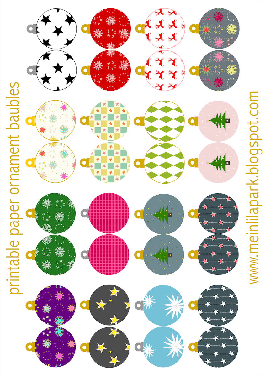 Free printable Christmas ornaments: baubles ...