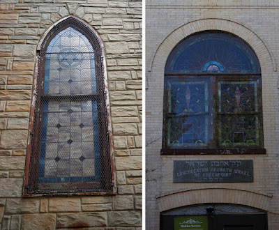 Stained glass windows of the two synagogues side by side