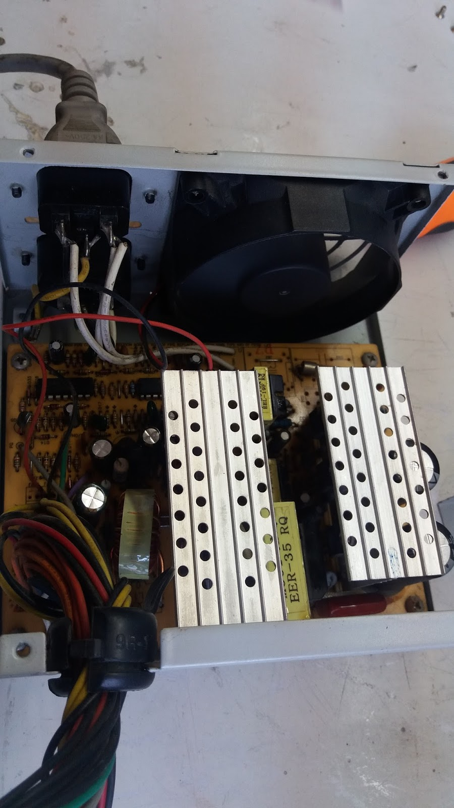 How To Test Computer Power Supply Unit Using Multi Tester Wiring Board Psu With Main Circuit And Exhaust Fan The Cable Connected At Back