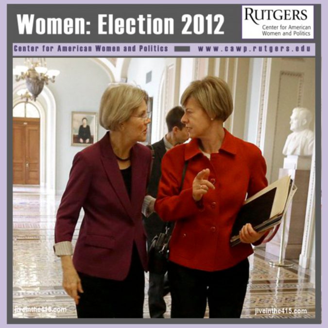 US Senator-elect Elizabeth Warren (D-MA) and US Rep. Tammy Baldwin (D-WI) the Senator-elect from Wisconsin chat.