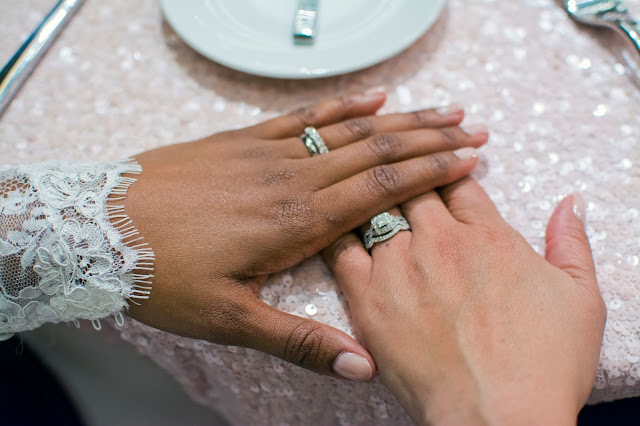 Deep South Brides at 21C Museum Hotel  shot on location by fine art wedding photographer Angela Cappetta wedding bands on the brides