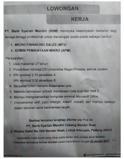 Lowongan Kerja PT. Bank Syariah Mandiri