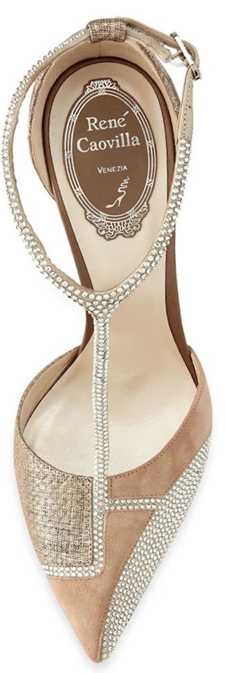Rene Caovilla Patchwork Swarovski Crystal T-Strap Sandal beige moonlight