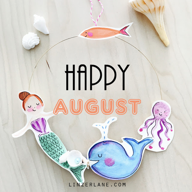 Happy August | Nautical Watercolor Wreath by Lady Lucas | Linzer Lane Blog