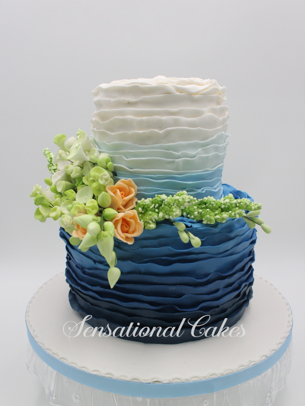 tiered wedding cakes singapore the sensational cakes ombre blue garden theme flower 2 20978