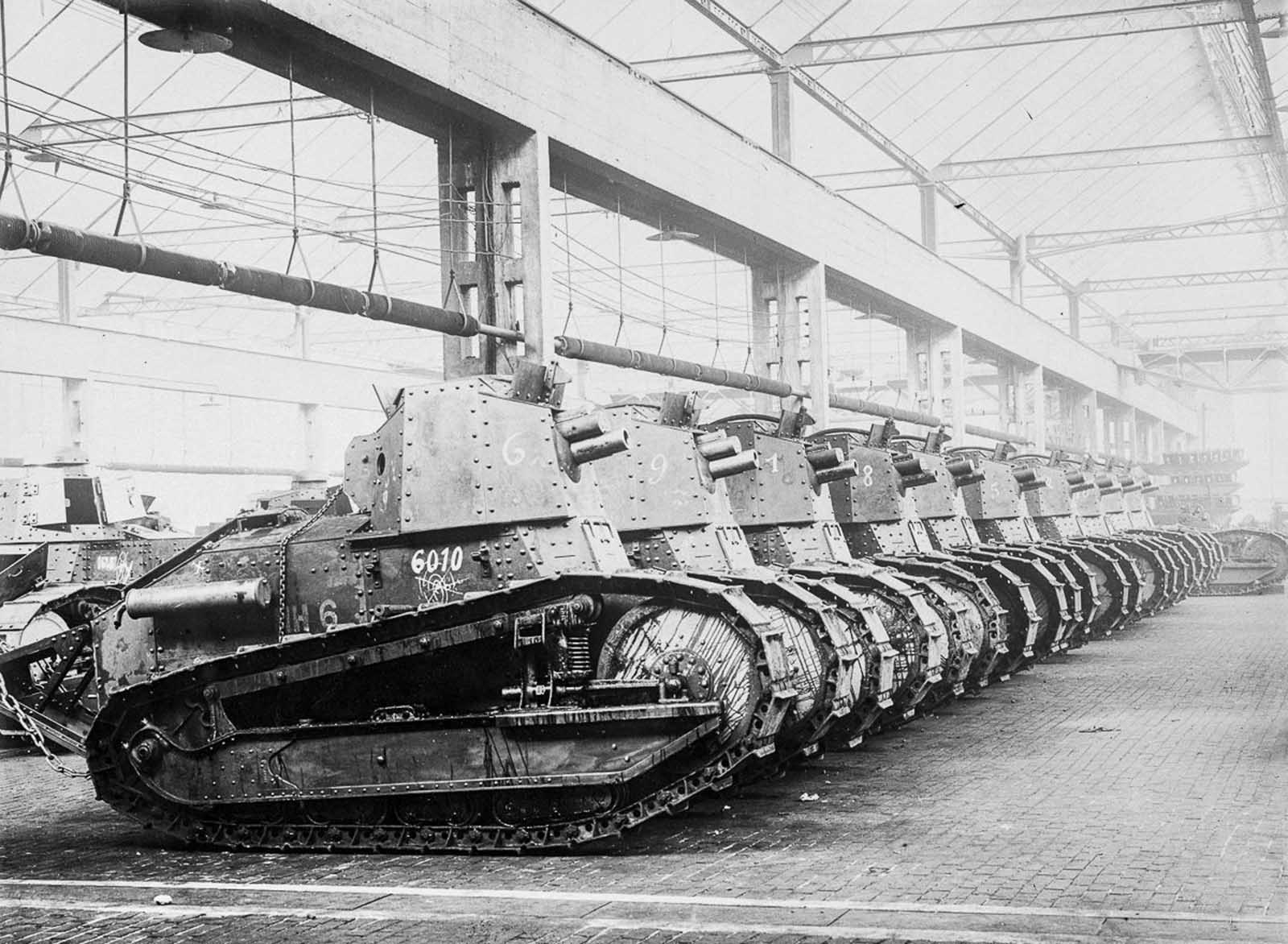 Early Renault tanks built for combat in World War I in a factory in France. 1916.