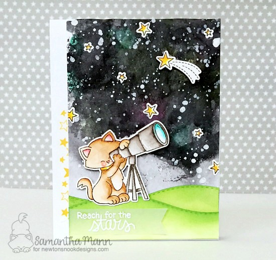 Cat with Telescope Space Card by Samantha Mann | Cosmic Newton Stamp Set by Newton's Nook Designs #newtonsnook