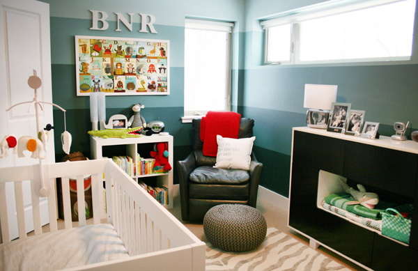 Teal Ombre Striped Gender Neutral Animal Nursery
