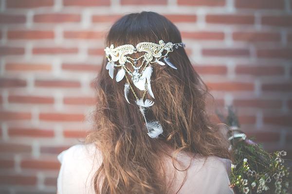 Opaska ślubna z piórkami