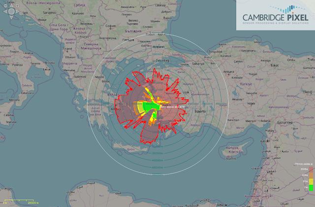 Θεωρητική εμβέλεια ρανταρ Ε-Ε στα κεντρικά παράλια της Τουρκίας.  Φαίνεται χαρακτηριστικά η πολύ μικρή επικάλυψη του σε χαμηλά υψόμετρα, λόγω των ελληνικών νησιών ακριβώς μπροστά του.