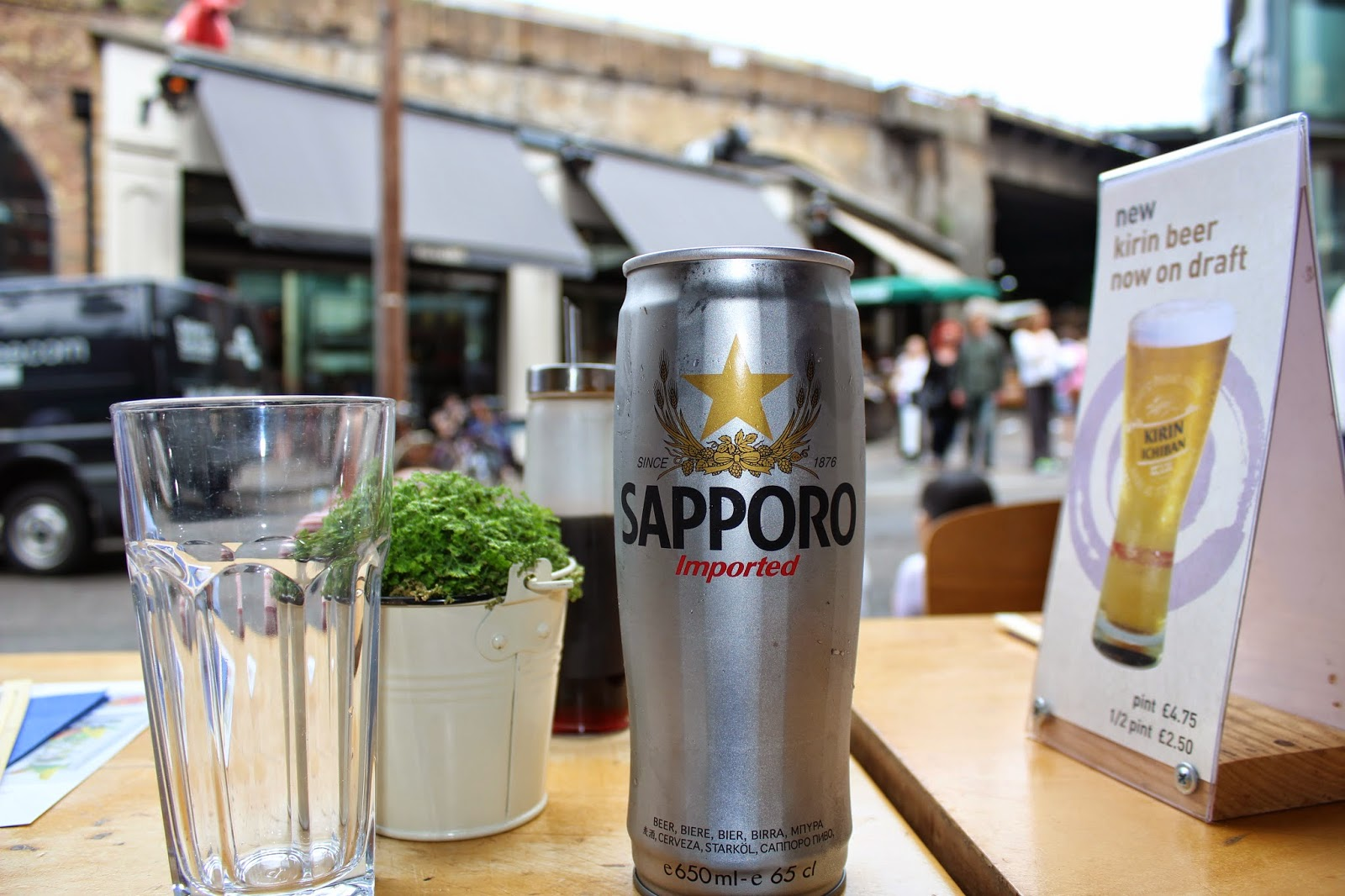 Sapporo beer at Feng sushi