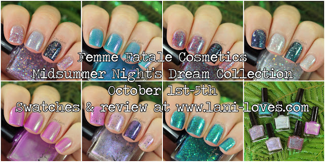 Femme Fatale Cosmetics Midsummer Night's Dream Collection Swatches & Review