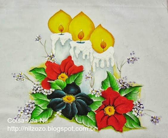 pintura de velas de natal com flores