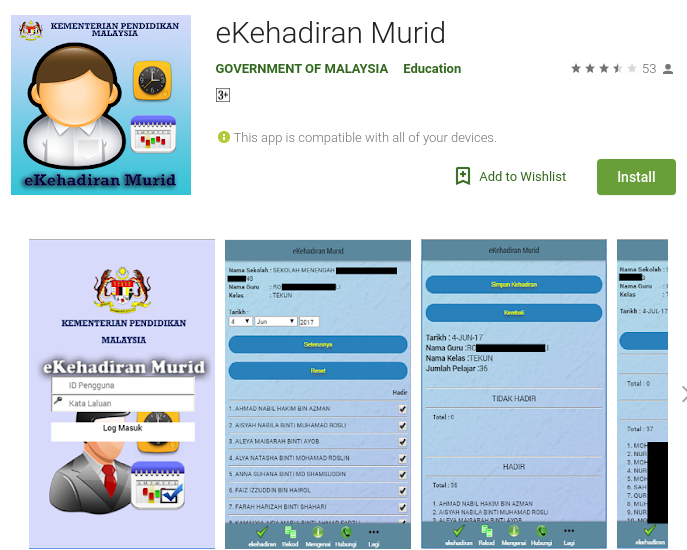 Download apk eKehadiran Murid