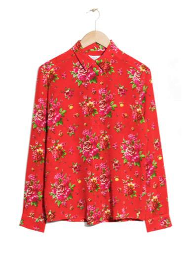 camisa roja estampado floral andotherstories