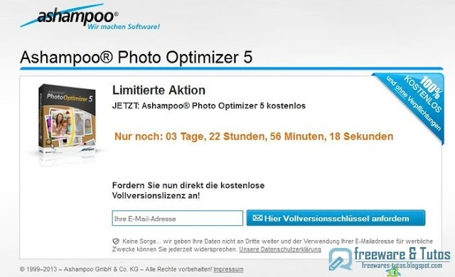 Offre promotionnelle : Ashampoo Photo Optimizer 5 gratuit !