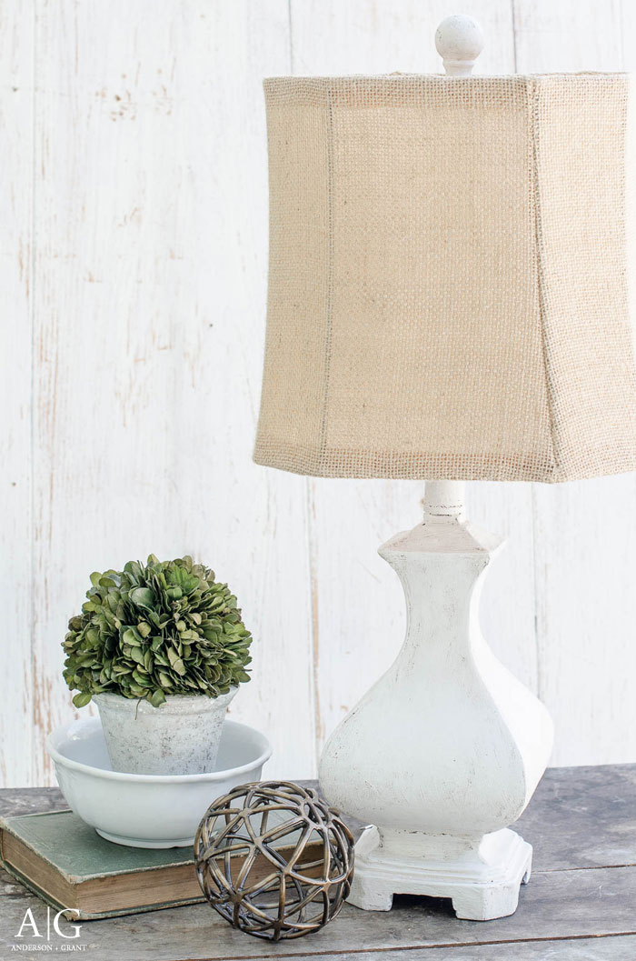 Transform a dated lamp with joint compound and paint to turn it into a stylish rustic farmhouse light.  |  www.andersonandgrant.com