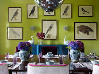 Fascinating Bird Pictures on the Green Wall near Gorgeous Dining Room Decorating Ideas with Long Wooden Table