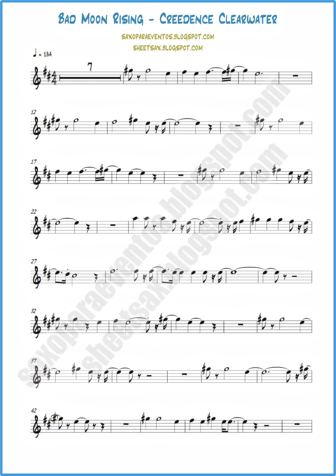 Sheet music and playlong of Bad Moon Rising by Creedence | Free
