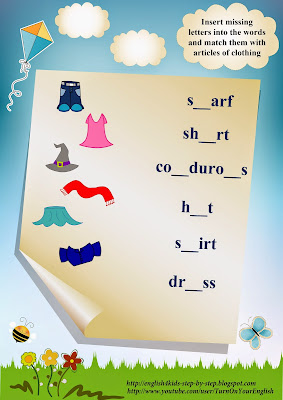 clothing vocabulary worksheet, insert letters and match words with images