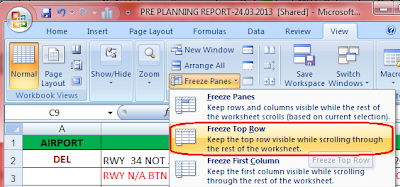 Freeze Panes in Excel 2007