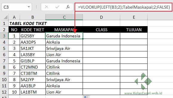 Rumus Vlookup-Left Excel