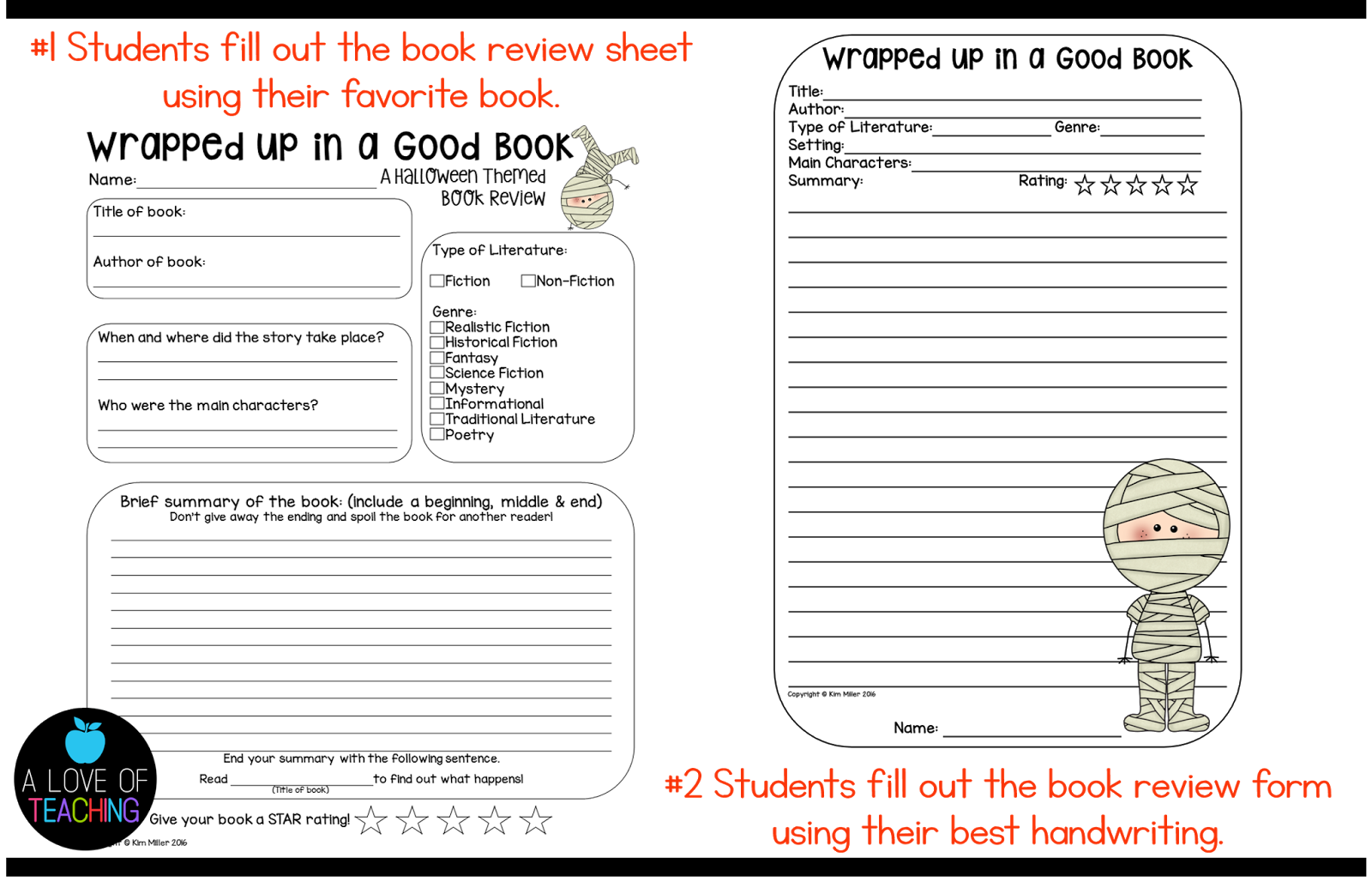Halloween Book Reviews: Free Download! – A Love of Teaching