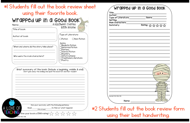 This is a book review sheet students can use to write reviews of their favorite books.
