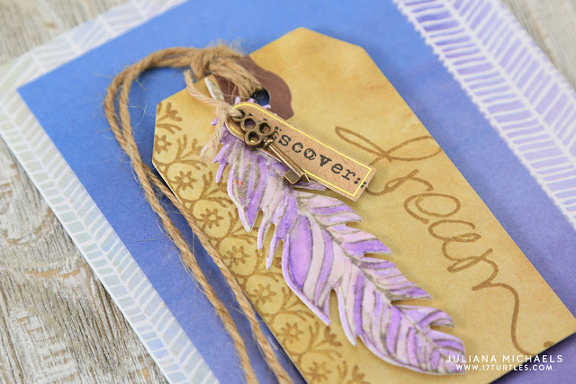 Watercolor Feather Dream Card by Juliana Michaels featuring Momenta Art C Stamps, Dies and Embellishments