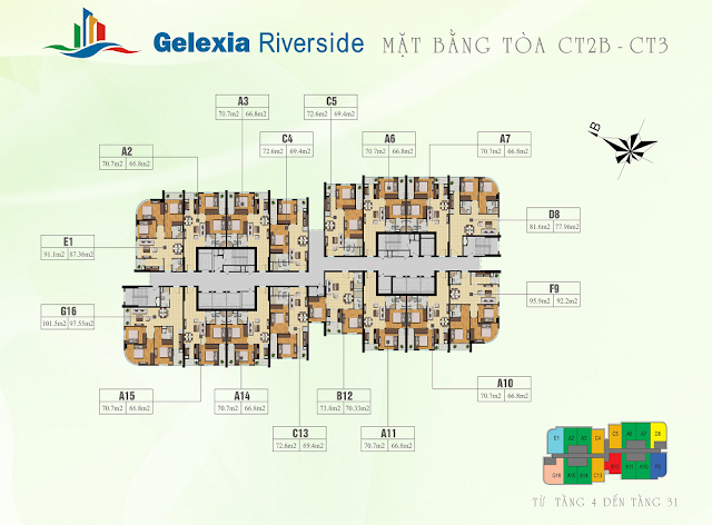 Mặt bằng tổng thể tòa CT2B - CT3 chung cư Gelexia Riverside