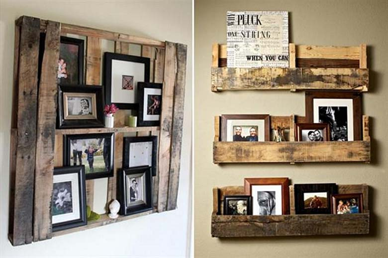 Modern Cabin Decor Family Photos Frames Rustic Wooden Pallet DIY Project Gallery Lodge Home Decor