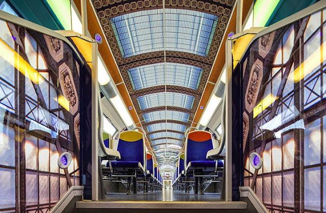 Vagões de trem francês estão sendo transformadas em museus Móveis cobertos de arte impressionista