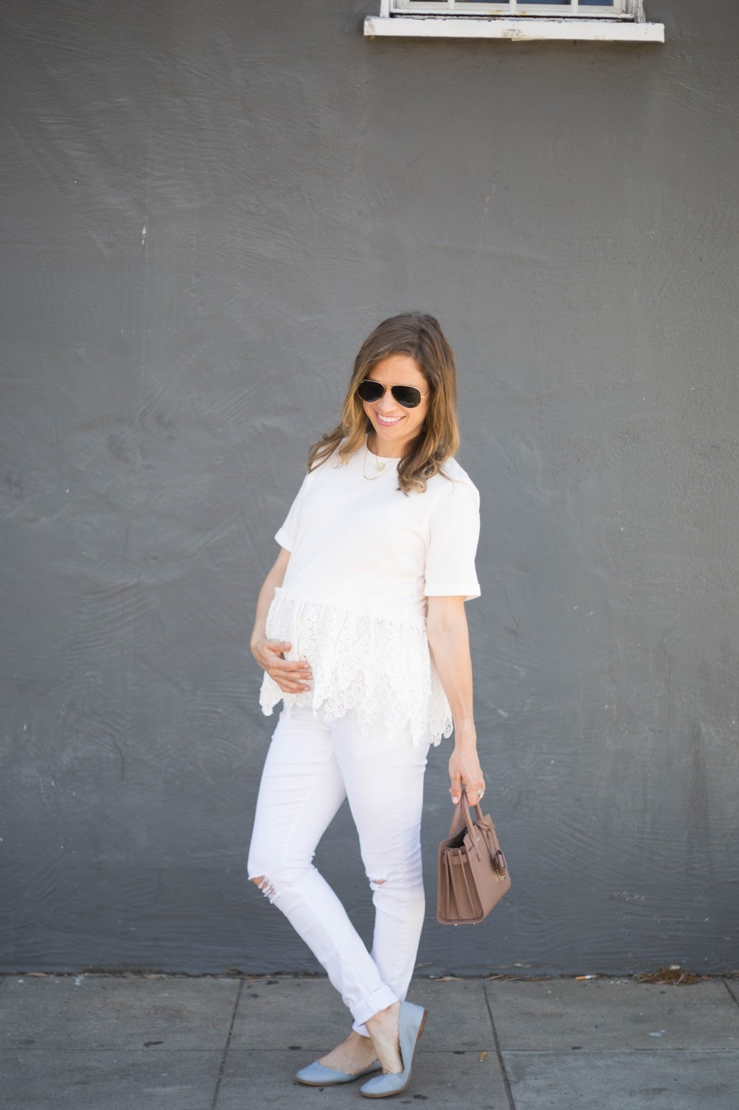 all white maternity outfit