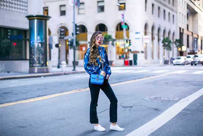 Blue Lightning bomber jacket, bomber jacket, flared pants, slip on, valentino lock bag, quay sunglasses, san francisco street style, san francisco fashion blog, spring outfit