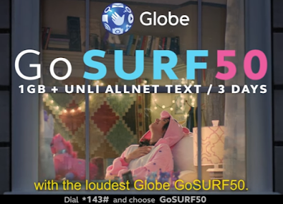 GOSURF50 : 1GB Surfing with 300MB for App of Choice + Unli All-Net Texts for 3 Days