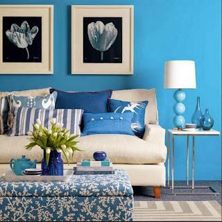 Sala en azul y blanco