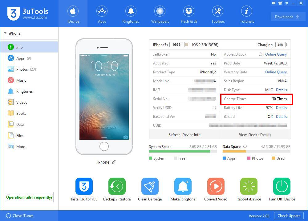 Hướng dẫn kiểm tra số lần sạc pin của điện thoại iphone hoặc máy tính bảng ipad