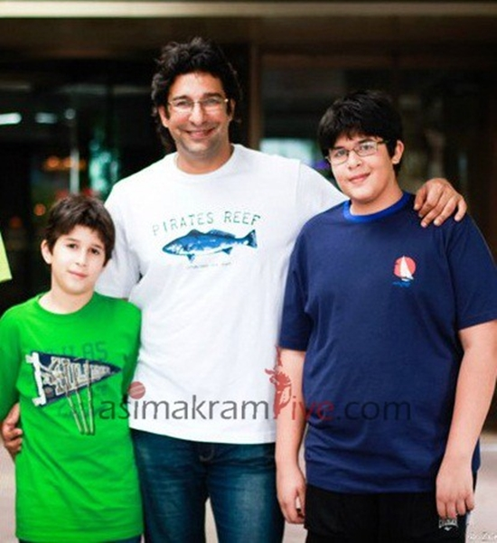 Wasim Akram with his sons