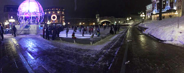 Place d'Youville ice skating rink in Québec City, Canada