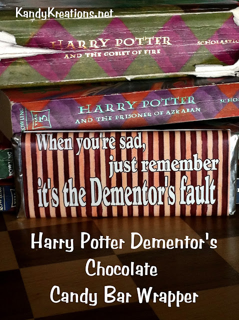 When you're sad, just remember it's the dementors and you need a piece of chocolate! Wrap a candy bar in this fun Harry Potter candy bar wrapper for a great gift for the Harry Potter fan or someone with the blues. #harrypotter #candybarwrapper #chocolate #dementors #diypartymomblog