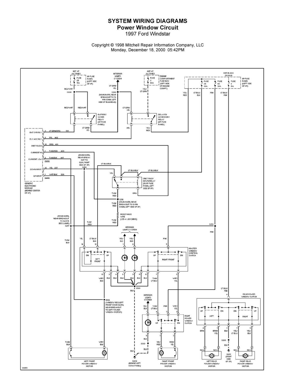 ford windstar electrical wiring diagrams