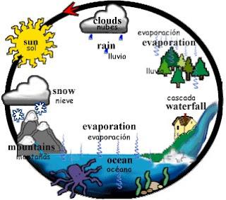 Dibujo del ciclo de evaporación del agua para niños