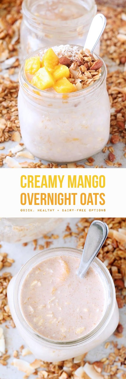 Creamy mango overnight oats made with made with easy & healthy ingredients like rolled oats, milk (dairy or non-dairy), real maple syrup, and fresh or frozen mango (which is full of vitamin C + A & fiber). A mere five minutes of prep the night before gives you healthy grab-and-go real food breakfasts for days.