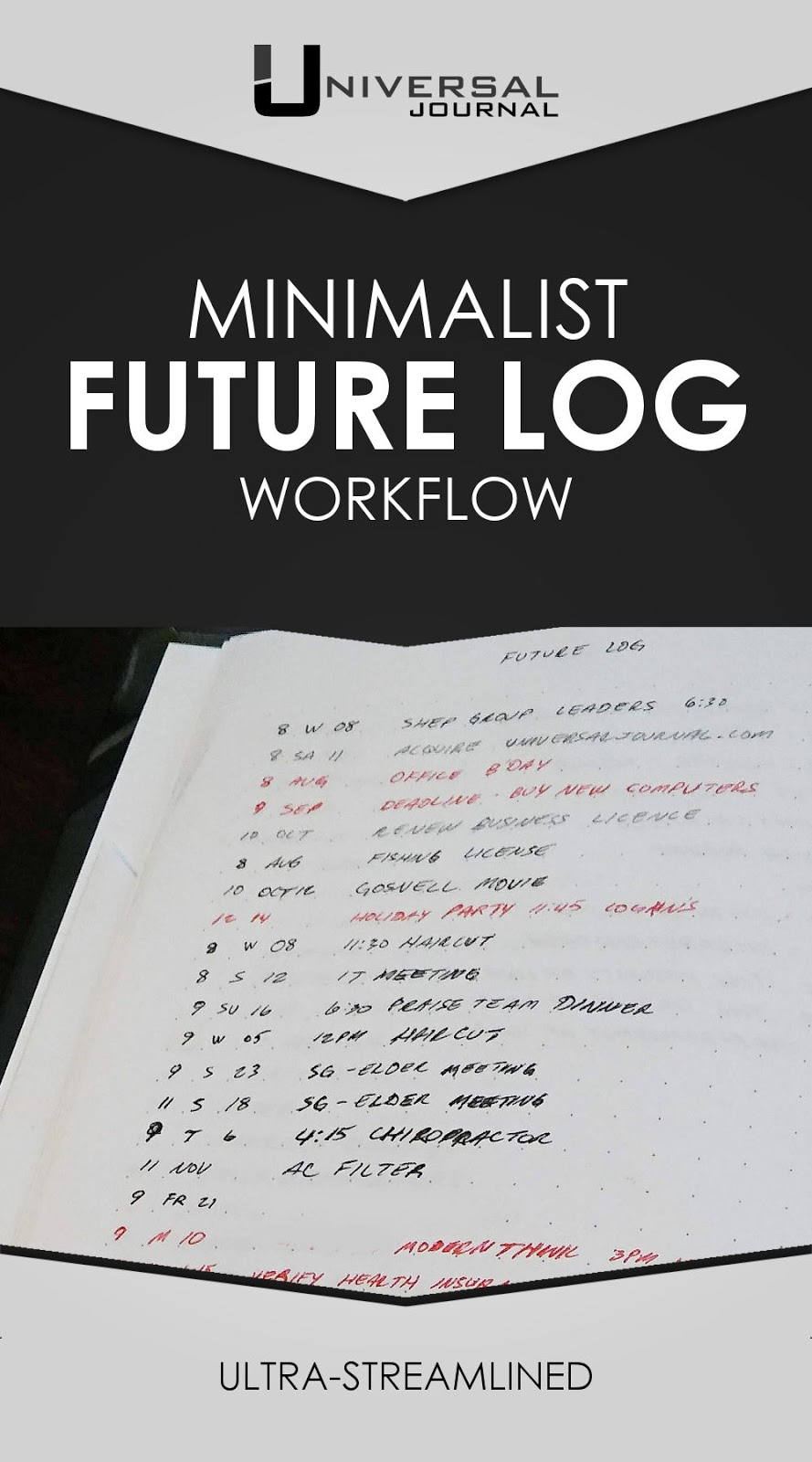 minimalist future log workflow bullet journal system