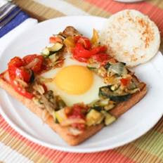 Egg in a Hole With Roasted Vegetables Recipe