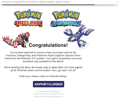 A screenshot of a usable Pokémon Omega Ruby/Alpha Sapphire special demo code.