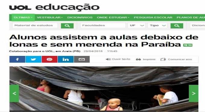 Mídia nacional volta a destacar situação precária de alunos na cidade de Areia, na Paraíba