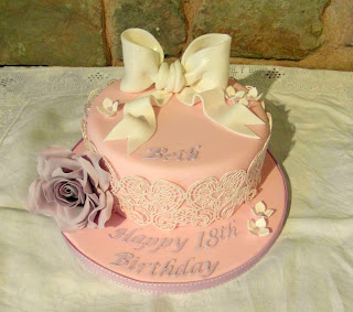 pink and lilac birthday cake